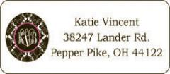 Black Patterned Circle Address Labels